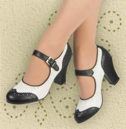 Aris Allen Black and White 1940s Heeled Wingtip Mary Jane Swing Dance Shoe: White 1940S, Black And White, Allen Black, Wingtip Mary, Dance Shoes, Mary Jane, 1940S Heeled, Jane Swing