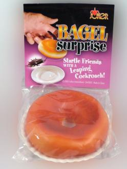 BAGEL SURPRISE.... Hide the cockroach inside the bagel and place it on a plate. Stand back and watch the fun when someone picks up the bagel. www.theonestopfunshop.com: Bagel Surprise, Watch, Prank Kit, Bagels, Place, Www Theonestopfunshop Com, Products,