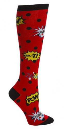 Bam!  Pow!  Splat!  ZING! Red with black polka dot knee high socks with comic book expressions. Fits women's shoe size 5-10. Blamo! knee high socks are made wit: Women S, Polka Dots, Highsocks, Knee Socks, Comic Book, Knee Highs, Products, Knee High S