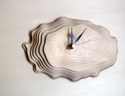 Bark clock  unique wall clock by AsymmetreeDesign on Etsy, €69.00 >> love this clock!!: Idea, Precisely Cut, Laser Cut, Wall Clocks, Wallclock, Growth Rings