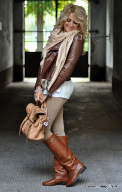 Brown Leather Blazer, Tan Scarf, White Tank Top, Tan Skinny Jeans, Brown Leather Boots, Tand Satchel Handbag, Wristwatch and Silver Bangle.: Fashion, Fall Style, Leather Boots, Brown Bags, Fall Outfits, Brown Leather Jackets, Fall Winter Outfit, Brown Boo