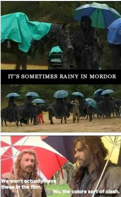 budget cut backs for the Hobbit? (to much money was spent convincing Benedict to stop being a dragon): Kili And Fili Funny, Matching Umbrellas, Clashing Colors, It S Rainy, The Hobbit Funny Dwarves, Colors Clash, Hobbit Lotr, Middle Earth, Lotr Thehobbit