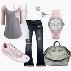Bummin' it :): Outfits, Fashion, Casual Outfit, Clothes, Dream Closet, Watch, Pink And Gray, Baseball Tees, My Style