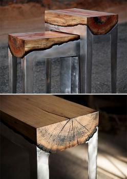 Cast Aluminum and Wood Furniture - Artist Hilla Shamia creates her cast aluminum and wood furnishings through a process that involves pouring molten aluminum directly onto the wood, letting it burn and seep deep into the woodgrain, creating a fresh look t