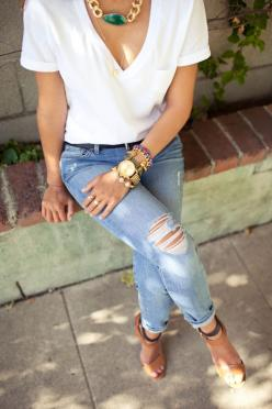 Casual: Ripped Jeans, Fashion, Style, T Shirt, White Tee, Clothes, Outfit, Spring Summer
