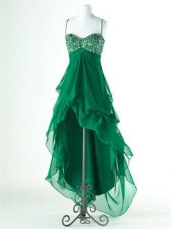 Charming A-line Spaghetti Straps High-Low Prom Dress: Straps High Low, High Low Prom, Fashion, Style, Green Dress, Spaghetti Straps, Straps Prom Dresses
