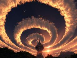Cloud spiral in the sky. An Iridescent (Rainbow) Cloud in Himalaya. The phenomenon was observed early am October 18, 2009.: Clouds, Spirals, Sky, Nature, Himalaya, Iridescent Rainbow, Observed Early, Spiral Cloud