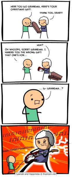 Cyanide and Happiness, a daily webcomic Giving Grandma the wrong gift at Christmas- ROFLMAO: Gift, Christmas, Funny, Rock, Hilarious, Random Stuff, Cyanide Happiness, Grandma
