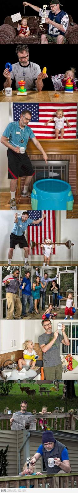Dad's at home while mom's deployed. These are the photos he sends her. i love this!: Funny Dad, Giggle, Daddy Daughter Photos, Awesome, Coolest Dad, Dads, Photography, Kid