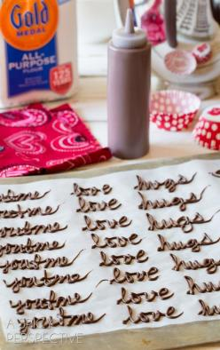 Did this for a baby shower today. Just one letter not words. Really cute. Froze them but in a few minutes they do start to get hard to pull off without breaking. I made double what I needed and I was glad i did.: Chocolate Cupcakes, Valentine Cupcake, Dar