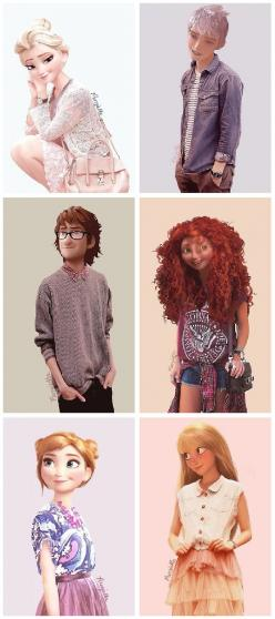 Disney (and Dreamworks) characters in modern fashion Makes me think of you @Abbie Barnes Barnes Barnes Barnes Lucas: Jack Frost, Modern Disney, Disney Princesses, Merida, Disney Pixar, Jack O'Connell, Disney Dreamworks, Disney Characters, Disney Moder