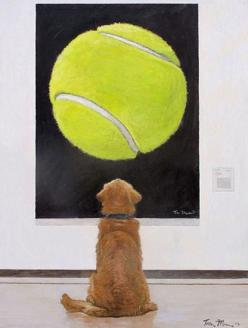 Dog art: this will be awesome above the couch that I have hanging on the wall.yes the couch is hanging on the wall: Animals, Dogs, Golden Retrievers, Pet, Art, Funny, Painting, Tennis Ball, Eye