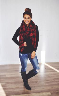 Dottie Couture Boutique - Red: Red And Black Outfit, Fall Flannel Outfit, Winter Outfit, Fall Outfit, Plaid Scarf Outfit, Black And Red Outfit, Black Boot Outfit, Black Boots Outfit, Winter Flannel Outfit