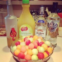 Drunken Melon Balls - Watermelon Cantaloupe Honeydew - Melon Vodka, Pineapple Juice, Peach Schnapps, Tequil Use a melon ball scoop to fill your bowl with melon balls. Pour your liquor and juice over the balls and refrigerate.: Pineapple Juice, Bowl, Drunk