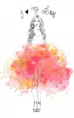 Fashion Illustrations by French illustrator Lutheen #fashion #illustration: Watercolor, Fashion Sketches, Dress, Fashion Art, Water Color, Drawing, Illustrator Lutheen, Fashion Illustrations