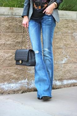 For a casual-cool update to flare denim, opt for a lightly distressed pair. Wear them with a graphic tee and a blazer for girl's night.: Flare Jeans, Fashion, Blazer, Style, Clothes, Outfit, Fall Winter, Graphic Tee, Flared Jeans