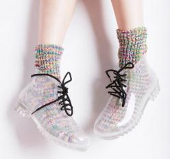 found a pair of these at buffalo exchange!: Clear, Rain Shoes, Jelly Shoes, Fashion, Rain Boots, Style, Ankle Boots, Socks, Transparent