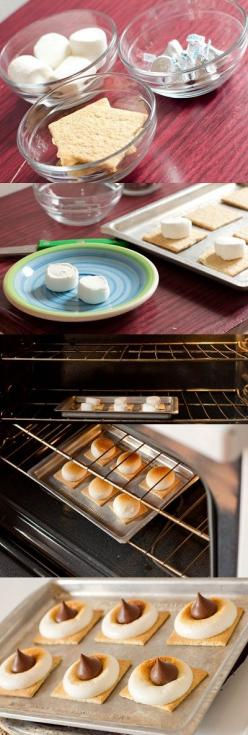 GENIUS. S'more Bites:: A quick, easy, fun dessert for guests. definitely making these this summer!: S More, Winter Idea, Quick Easy Dessert, Winter Treat, Smores, Food Drink