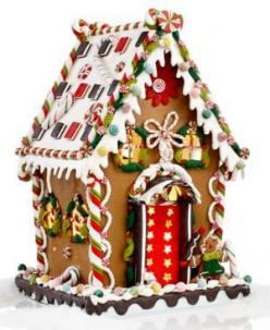 Gingerbread House - I like the red door with the stars and the candy cane columns at each corner: Holiday, Gingerbreadhouse, Christmas Decoration, Christmas Gingerbread House, Kurt Adler, Gingerbread Houses, Pre Lit Christmas