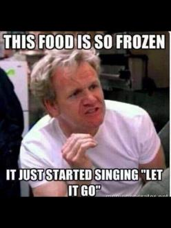 "Grammar Fail: There should be a comma after frozen or it will be a run-on. It needs a period to be a complete sentence.  Grammar Win: This food is so frozen, it just started singing ""Let It Go."":"