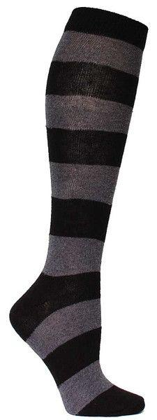 Grey & black large striped knee high length sock. Fits women's shoe size 5-10.: Fit, Black Large, Dream Style, Knee Highs, Grey, Knee High Socks