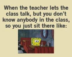 Hahaha or the college problem, class hasn't started so everyone is talking but you don't know anyone....: No Friends, Quotes, High School, My Life, Funny, So True, College Problems
