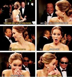 Hahahaha. Jennifer meeting Jack. @Chelsie Salyards This is what I was talking about. It's a pic of it- the video is funny.: Giggle, Jack O'Connell, Funny, Jack Nicholson, J Law, Jennifer Lawrence, Jenniferlawrence, Jlaw