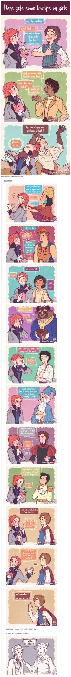 """Hans from """"Frozen"""" asks his predecessors (i.e. other Disney guys) for tips on wooing the ladies. Hilarity ensues :P And, I'm definitely looking at Prince Phillip (from """"Sleeping Beauty"""") and thinking, """"You...just HAD to say that. G"""