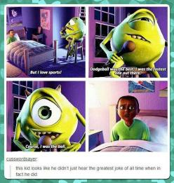 Hard to appreciate jokes when they're told by a strange green creature who appeared out of nowhere. In your room. At night.: Funny Pictures, Monsters Inc, Disney Pixar, Greatest Joke, Movie, Funny Quotes, Kid