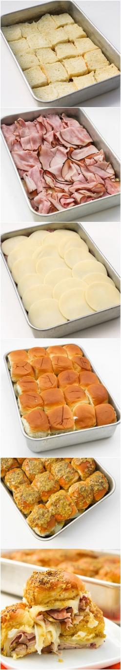 Hawaiian ham and cheese sliders.Preheat oven 350*,in 9x13 pan place bottom of Hawaiian Sweet Rolls,black forest deli ham slices,20 slices provolone cheese,spread 8oz.cream cheese on inside of top bun.Topping : mix 1/2 cup butter,melted, 1 tbsp mustard,1 t