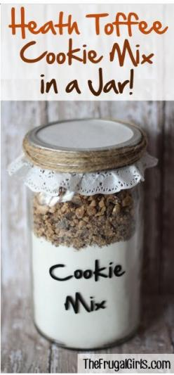 Heath Toffee Cookie Mix in a Jar! ~ at TheFrugalGirls.com ~ this cookie mix comes together in a snap, makes a great gift, and will bake the most incredible Heath Toffee Cake Mix Cookies! #masonjars #giftsinajar #thefrugalgirls: Heath Toffee, Cookie Mixes,