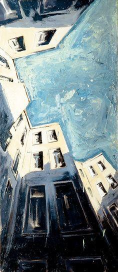 "Helge Windisch; Oil, 1997, Painting ""berliner himmel""  Check out this great perspective!"