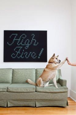 {high five!} giant cross-stitch. this is so rad!: Giant Cross Stitch, Highfive, Craft, Crossstitch, Crosses, Dog, Cross Stitches, Animal