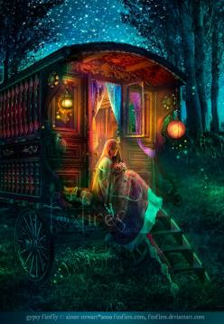 His caravan  Was painted by hand  That's touched every pebble in the ocean-o  And the pictures there  They move in thin air  There forever telling-o  The tales of the Enchanted Gypsy-o    - Donovan: Gypsy Soul, Dream, Gypsy Caravan, Color, Fantasy Art, Ai