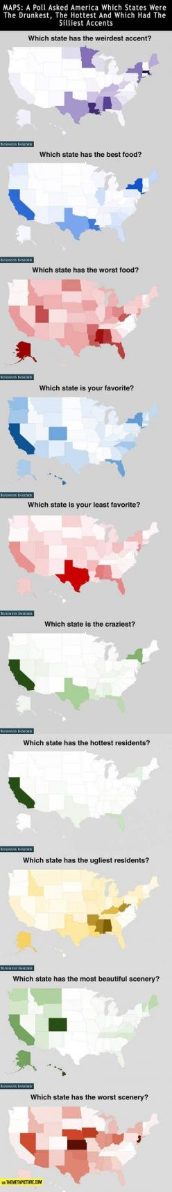 How Americans feel about the states... Seriously? Some of these states you'd actually have to live in in order to judge it the way these people were: Maps Usa, California Pride, Funny Usa Map, Colorado Funny, States Funny, Manly Funny, Americans Feel,