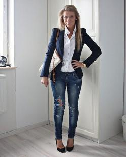 I'm loving simple pieces paired together with a twist. For instance, a feminine, tailored navy blazer over a crisp white button-up looks downright edgy with destroyed skinnies and heels.: Ripped Jeans, Casual Outfit, Fashion, Navy Blazers, Style, Cute