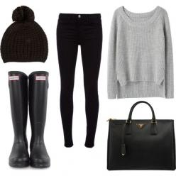 I could live in this outfit from October to march. Heck, i need to move to Seattle and wear this all of the time.: Hunter Boots, Style, Black Leather Bag, Winter Outfit, Fall Outfit, Fall Winter, Rainy Days, Rainy Day Outfit
