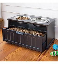 I like the idea of this dog feeder. Not only because of it's stylish design and the fact that raised bowls are better for your dogs. I like it that it comes with a drawer underneath that you can store food, treats or your dog's toys. An especially nice fe
