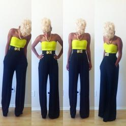 I love the whole look, although, I would have to alter the look a bit to work for me! Neon + dark neutral pant in a conservative cut, with platinum blonde hair!: Outfits, Fashion, Style Inspiration, Color, Neon, Platinum Blonde Hair, Wear