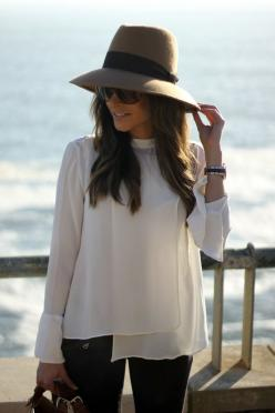 I want to be the type of person that wears hats like this. So pretty.: Wears Hats, Types Of, Fashion, Style, Wear Hats, White Blouses, White Top