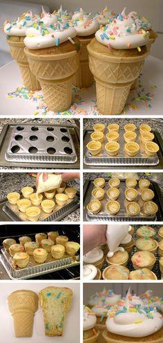 Ice Cream Cone Cupcakes: Cone Cupcakes, Sweet, Food, Cup Cake, Party Ideas, Dessert, Ice Cream Cones