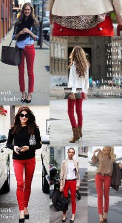Ideas for what to do with those red (or other colored) pants hanging in your closet that you never wear.: Outfit With Red Pant, Red Skinny Jean, Wear Red, Fashion Tip, Style, Red Jeans, Fall Winter, Red Pants