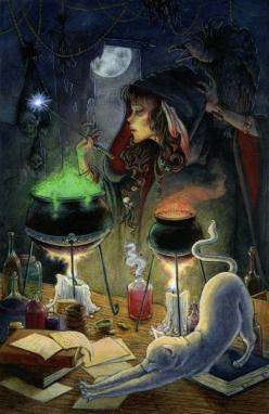 illustration drawing digital painting witch cat brewing cauldron dark magic night halloween: Fantasy, Magic, Digital Paintings, Halloween Witch, Art, Witches, Illustration, Pagan, Things