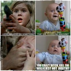 In that episode I thought lizzie was gonna kill Judith. It looked like she was suffocating her: Thewalkingdead, Dead Humor, The Walking Dead, Lizzie, Funny, Dead Meme, Baby, Twd