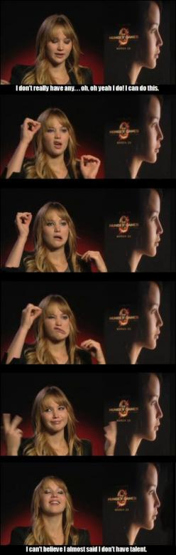 J-Law's Awesome Hidden Talent...it's really funny if you scroll through really quickly: Hidden Talent, Hunger Games, Funny, Hungergames, Jenniferlawrence, J Law, Jennifer Lawrence