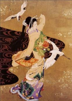 Japanese Woman & Cranes | Tattoo Ideas & Inspiration - Japanese Art | Haruyo Morita | #Japanese #Art #Crane: Japanese Art, Geishas, Japanese Painting, Art Prints, Asian Art, Dance, Cranes Art, Oriental Art, Haruyo Morita