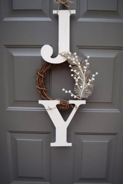 joy sign christmas sign christmas door hanger by TheClassyGoose: Christmas Door Decoration, Christmas Diy Gift Idea, Christmas Door Sign, Diy Christmas Door Hanger, Christmas Decor Sign, Rustic Christmas Decoration, Joy Wreath