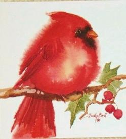 Judy Bell - Red Cardinal - Etsy - what a cutie-pie Merry Christmas 2013 C.A.: Watercolor Bird, Christmas Watercolor, Christmas Card, Painting, Cardinals Redbirds