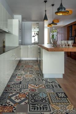 Kitchen with gorgeous tiles floor and Tom Dixon Beat lamps - design Goodnova-Godiniaux: Kitchens, Patchwork Tile, Apartment, Cement, Kitchen, Kitchen Floor Tile, Cement Tile