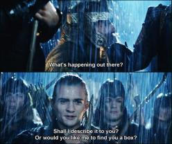Lord of the Rings, i love when Gimili laughs at the fact that Legolas made a joke: Lotr, Short Joke, Movies, Box, Hobbit, Lord Of The Rings